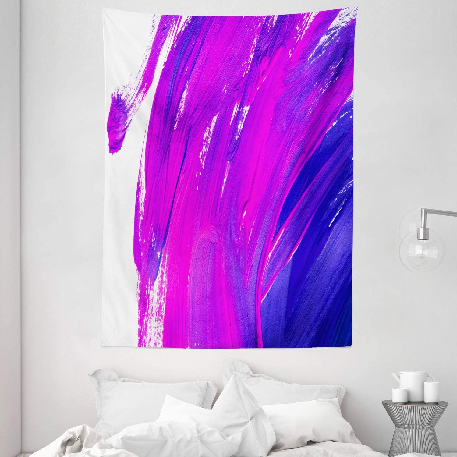 Amazon Com Ambesonne Purple Tapestry Simplistic Brush Strokes Of Oil Paint Art Theme Vibrant Color Effects Modern Design Wall Hanging For Bedroom Living Room Dorm Decor 60 X 80 Violet Blue Home