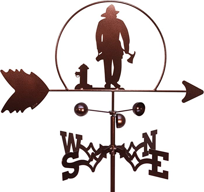 SWEN Products Fireman FIRE Fighter Weathervane (Garden Stake Included)