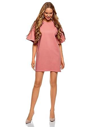 5212c3fb3d oodji Ultra Femme Robe Droite avec Manches à Volants, Rose, FR 36 / XS