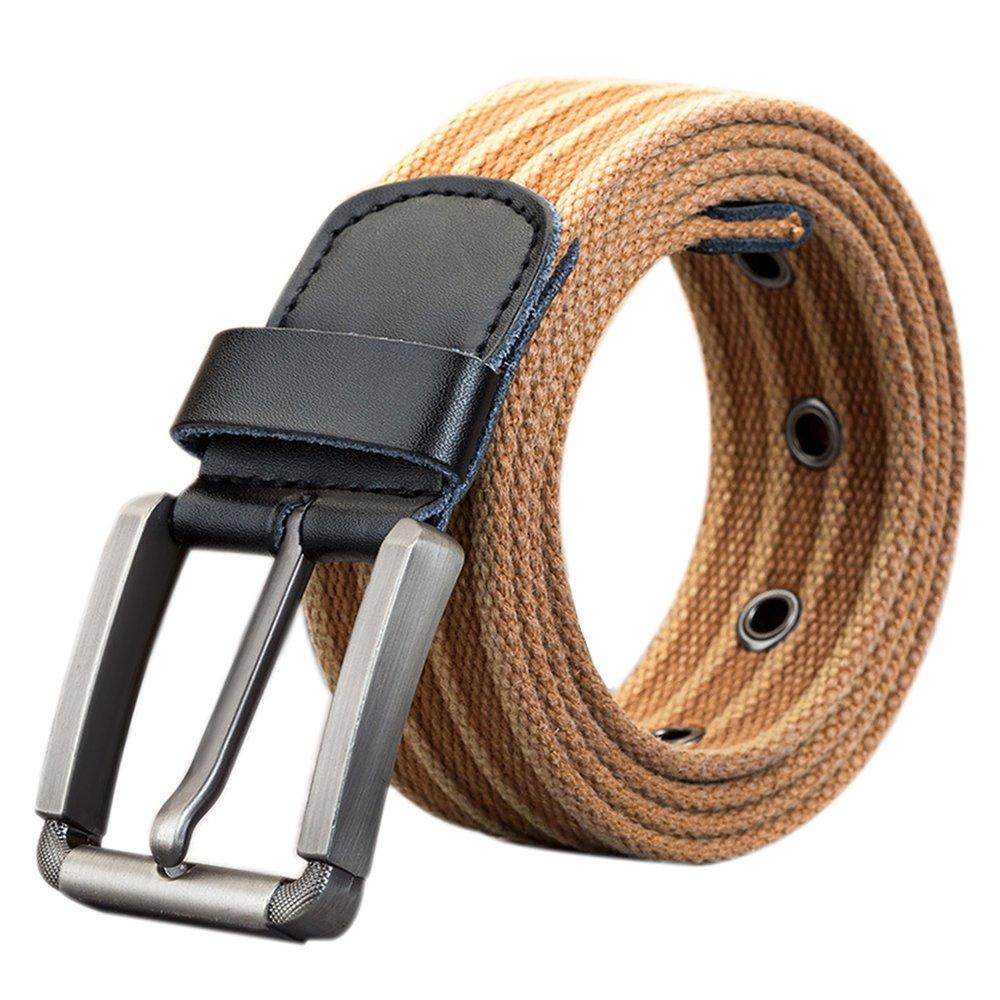 ITIEZY Men Canvas Belt 1.5 Width Waistband Pin Buckle Outdoor Casual Adjustable