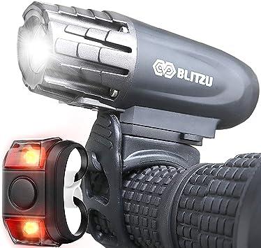 BLITZU - Juego de luces LED para bicicleta recargable por USB, 320 lúmenes, potente faro trasero incluido, la mejor luz frontal impermeable LED, fácil de instalar para bicicleta linterna de seguridad: Amazon.es: