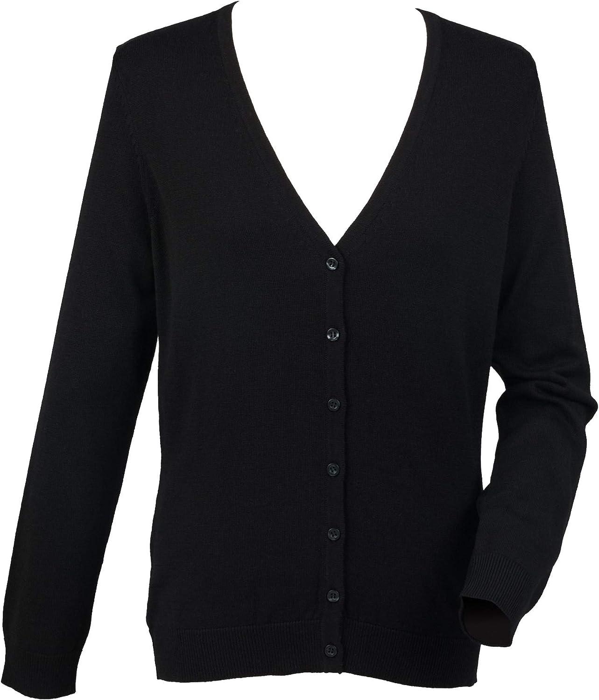 Henbury WomensLadies V Neck Button Up Cardigan