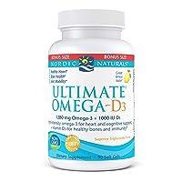 Nordic Naturals Ultimate Omega-D3, Lemon Flavor - 1280 mg Omega-3 + 1000 IU Vitamin D3-90 Soft Gels - Omega-3 Fish Oil - EPA & DHA - Promotes Brain, Heart, Joint, Immune Health - 45 Servings