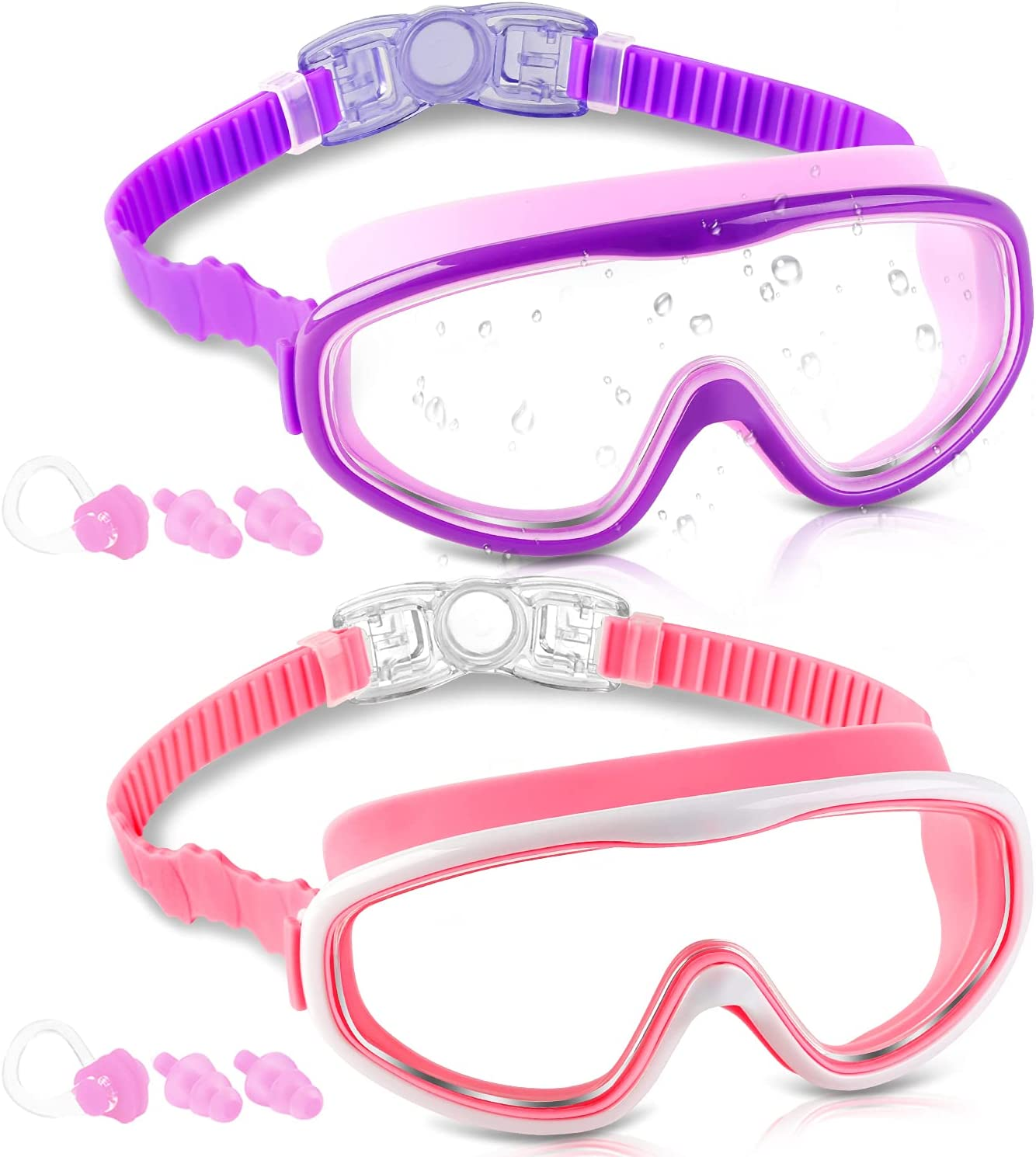 1 Pack Kids Swim Goggles Wide Vision Swimming Glasses for Children