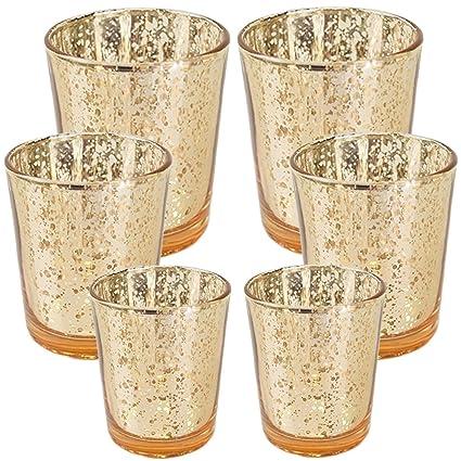 444e16934e853 Just Artifacts 6pc Assorted (Size) Gold Mercury Glass Votive Tealight  Candle Holder Set -
