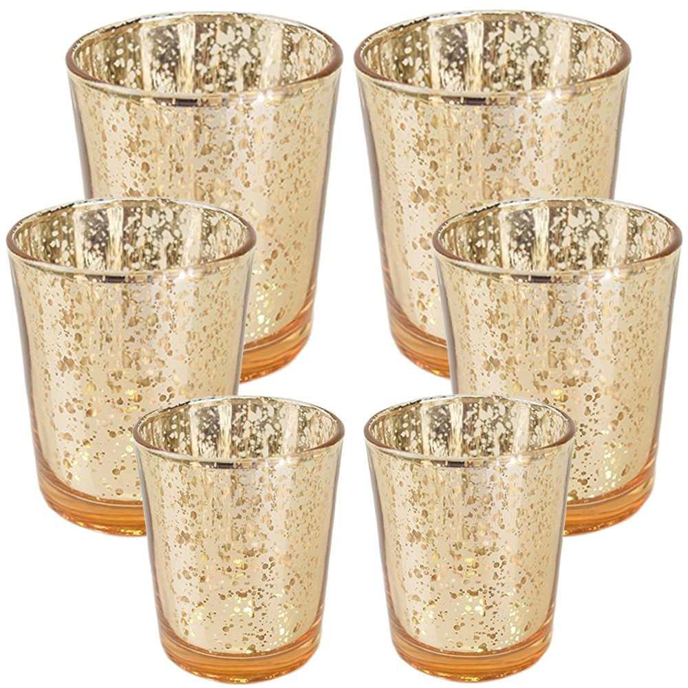 Just Artifacts 6pc Assorted (Size) Gold Mercury Glass Votive Tealight Candle Holder Set - Mercury Glass Votive Tealight Candle Holders for Weddings, Parties, and Home Décor