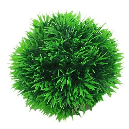 ZHOUBA - Bola de hierba artificial redonda para acuario, plástico, verde, decoración de
