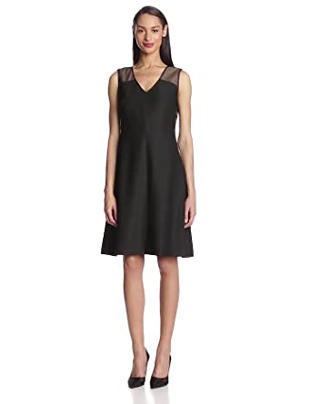 Anne Klein Women's Embroidered Island V-Neck Dress,Black,2