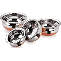 MBS Stainless Steel Handi with Copper Bottom 550, 750, 1250, 1750 ml (Silver) - Set of 4