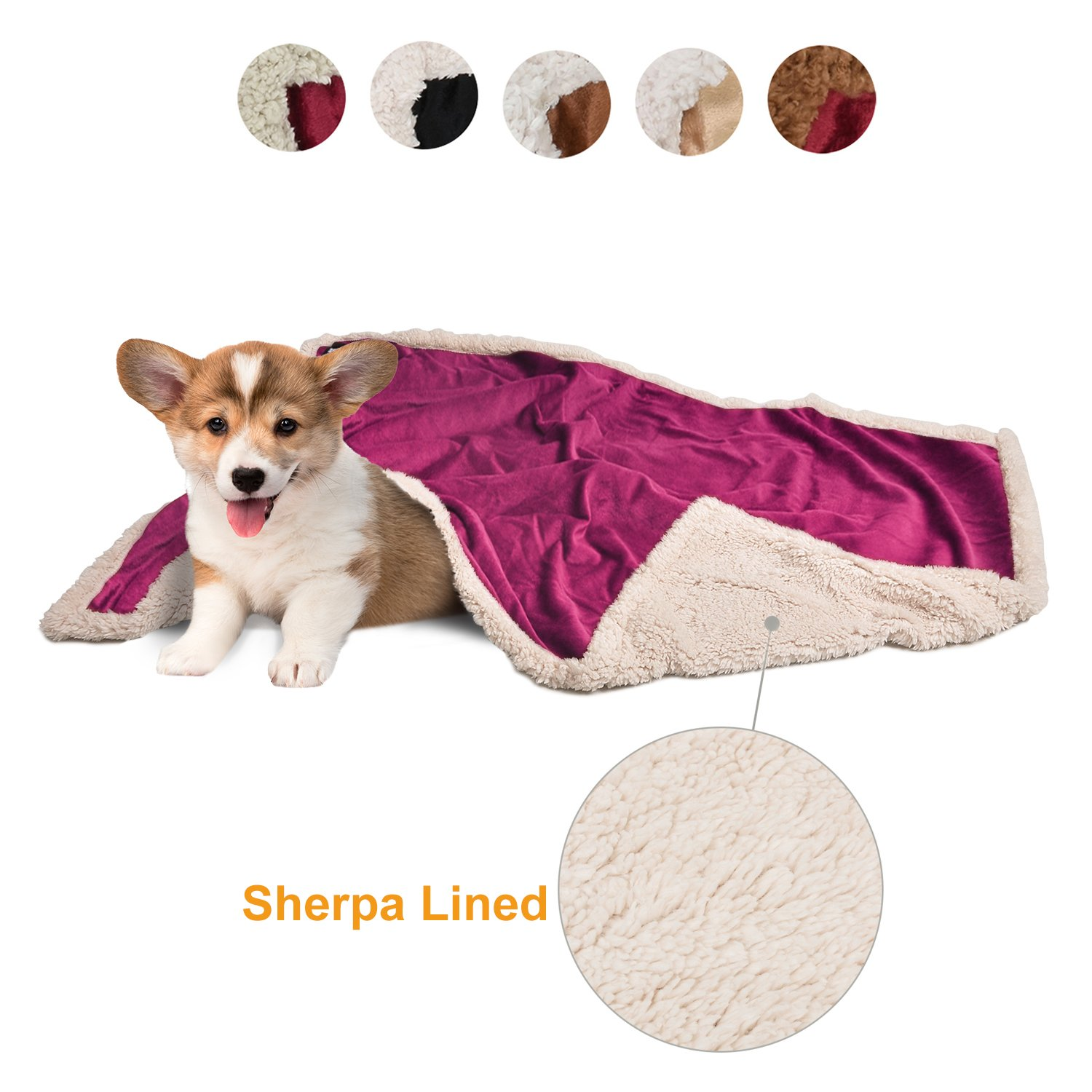 Puppy Blanket,Super Soft Sherpa Dog Blankets and Throws Cat Fleece Sleeping Mat for Pet Small Animals 45x30 Wine
