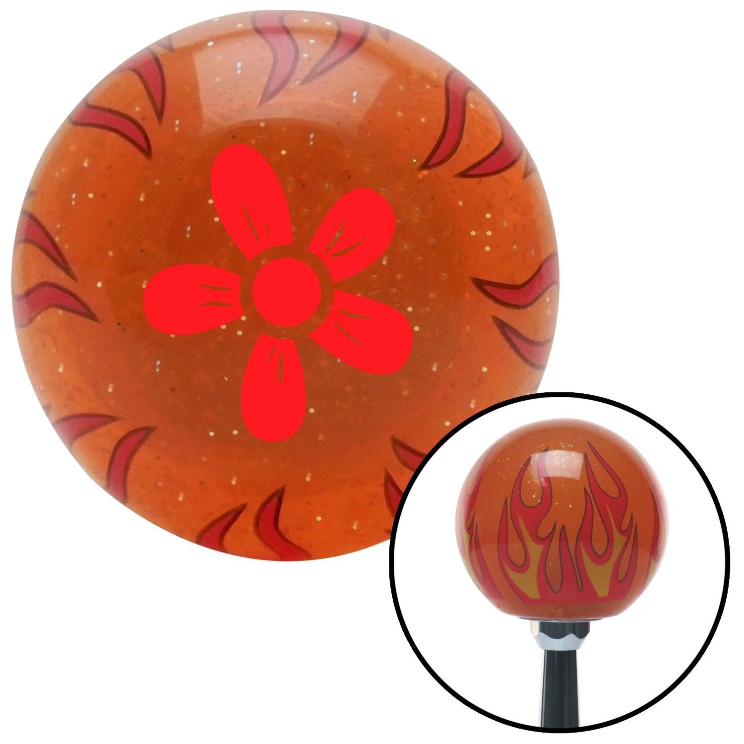 Red Flower - Daisy American Shifter 254608 Orange Flame Metal Flake Shift Knob with M16 x 1.5 Insert