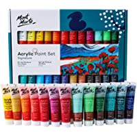 Acrylic Paint Set 24 Colours 36ml, Perfect for Canvas, Wood, Fabric, Leather, Cardboard, Paper, MDF and Crafts