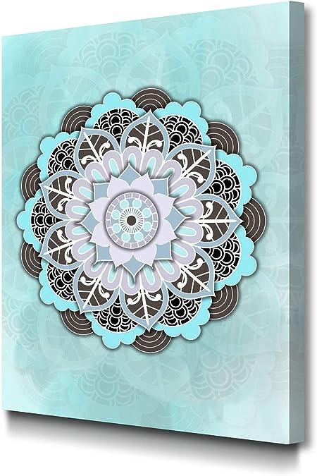 Foto Canvas Cuadro Mandala Azul | Lienzos Decorativos - Decoración Pared - Cuadros de Salón | 30 x 40 cm sobre Bastidor de Madera Grueso Listos para Colgar: Amazon.es: Hogar