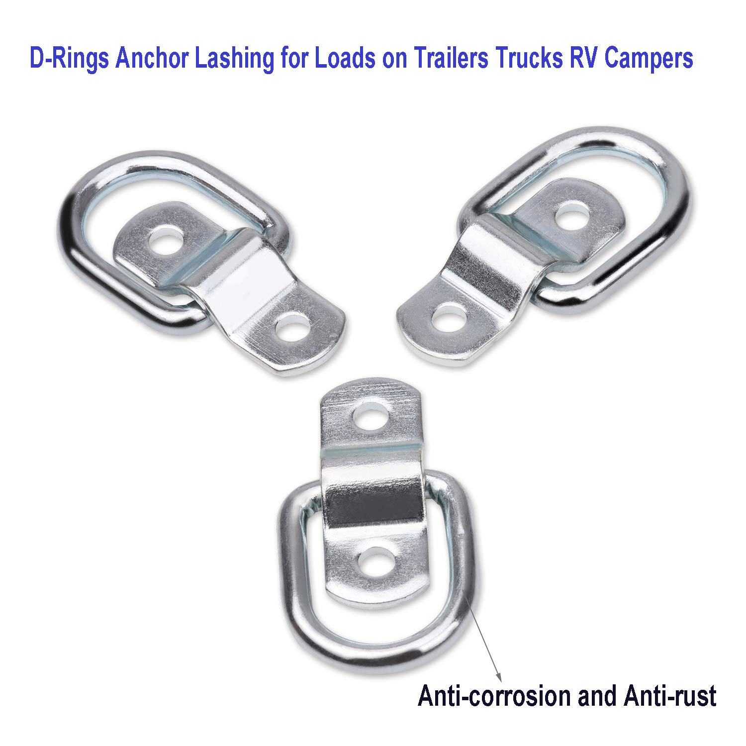 12Pack Trailer Tie-Down Anchors D Ring Tie Down Cargo Tie-Down Anchors with Mounting Bracket Replacement Fit for Truck Trailer Pickup Boat Warehouse