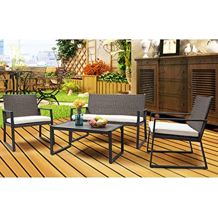 Tangkula 4 pcs Wicker Furniture Set Outdoor Patio Furniture Rattan Wicker Sofas Garden Lawn Poolside Cushioned Seat Conversation Set with Removable Cushions Coffee Table Patio Furniture Grey 001