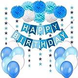 Jonami Happy Birthday Decorations Boy - 1 Happy Birthday Banner / Bunting Banner + 8 Flower Pom Poms + 6 meters Star Garlands + Latex Balloons Blue White Turquoise.