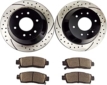 Trailblazer Envoy Rainer Bravada Front Brake Rotors /& Ceramic Pads 113 Inch W//B