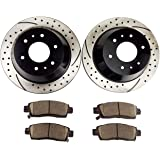 XK8 Front Rear Gold Drill Slot Brake Rotors+Ceramic Brake Pads Fits Jaguar XJR