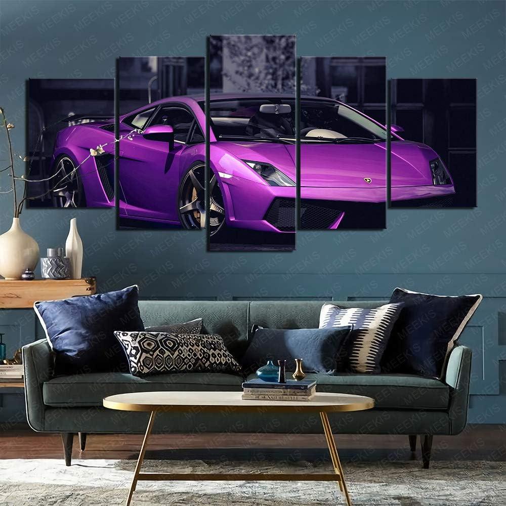 Impresión de póster HD Visión 3D Cinco paneles Imágenes de automóviles Lamborghini moradas Ambiente festivo 100x50cm Sin marco