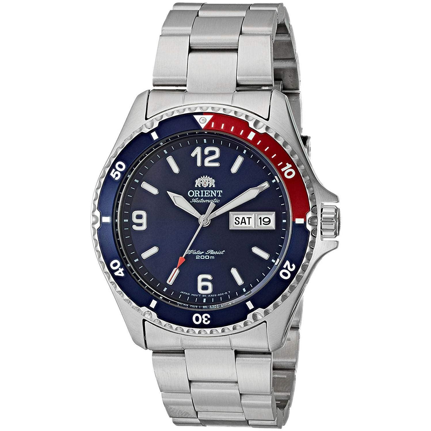 Orient Men's Mako II Japanese-Automatic Watch with Stainless-Steel Strap, Silver, 22 (Model: FAA02009D9) by Orient