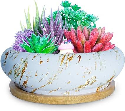 Marble Ceramic Succulent Pot Bonsai Cactus Flower Container Planter Bamboo Trays
