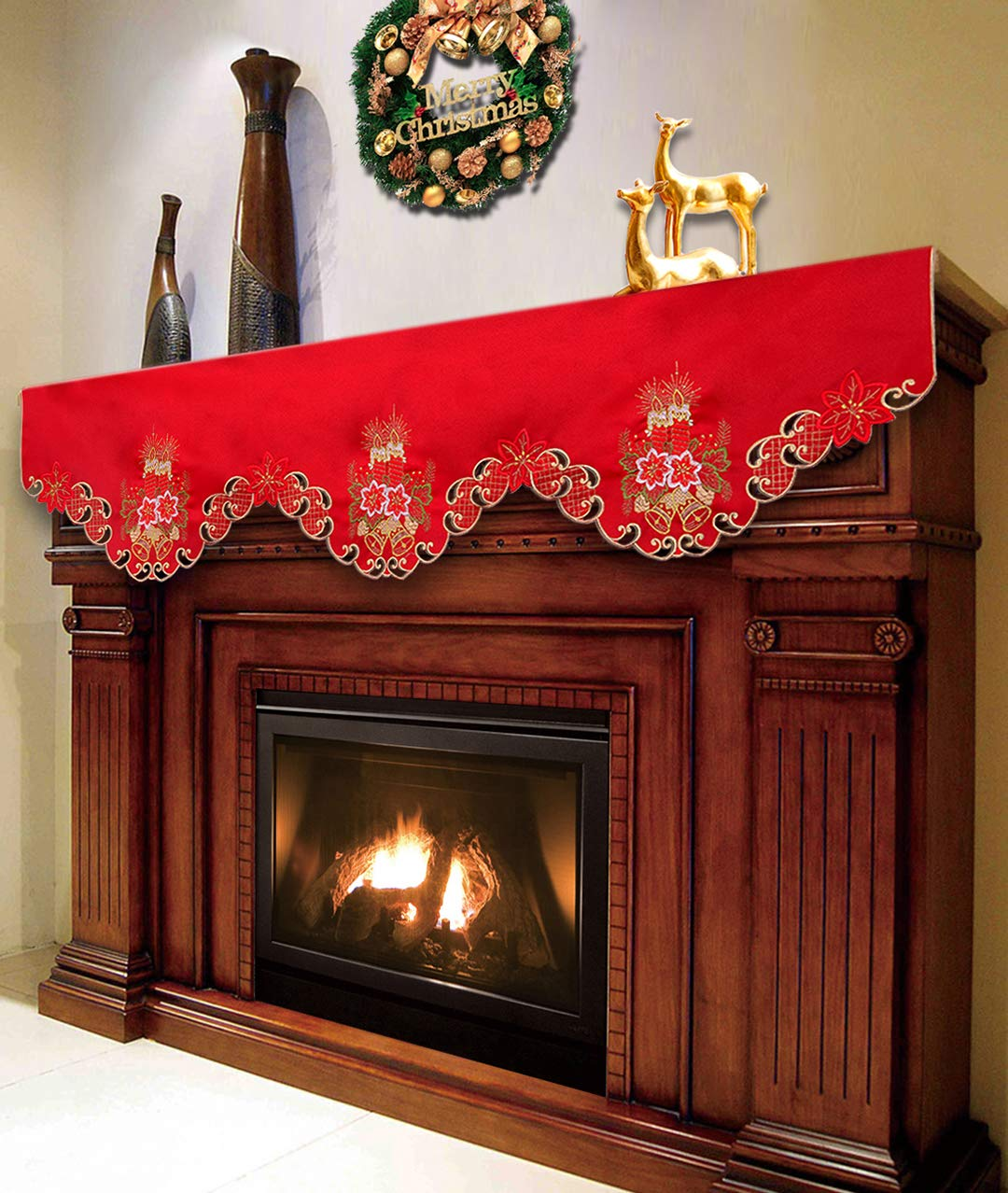 Grelucgo Christmas Holiday Mantel Scarf, Runner, Winter Decorations 69 by 17 Inch by Grelucgo