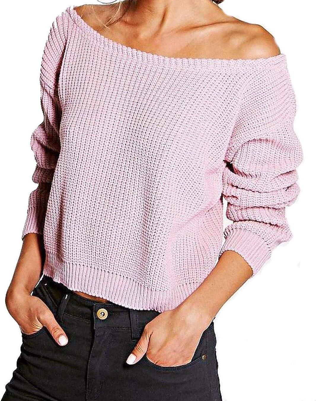 REAL LIFE FASHION LTD Ladies Slash Neck Off Shoulder Cropped Jumper Womens Knitted Long Sleeve Top