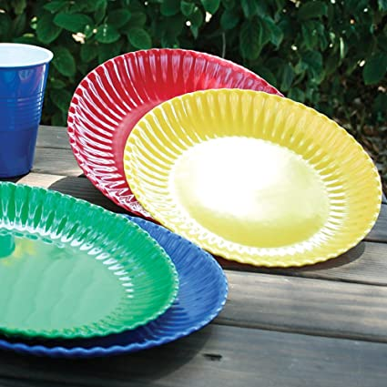 Melamine Colorful Reusable Picnic Plate (Set of 4) & Amazon.com | Melamine Colorful Reusable Picnic Plate (Set of 4 ...