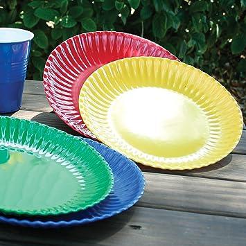 Melamine Colorful Reusable Picnic Plate (Set of 4) & Amazon.com | Melamine Colorful Reusable Picnic Plate (Set of 4 ...