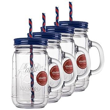 aladdin 4 pack 32oz plastic mason jar set handled lidded tumbler drinking cup mug glasses u0026 - Mason Jar Drinking Glasses