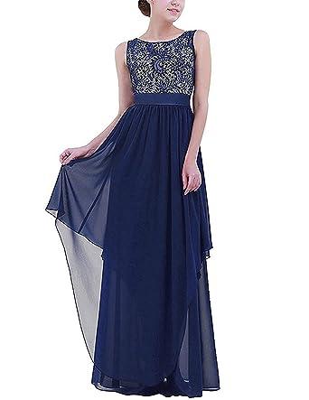 carinacoco Donna Elegante Vestiti da Matrimonio Pizzo Abito in Chiffon  Lunghi Vestito Formale Banchetto Sera  Amazon.it  Abbigliamento 484cb9b8c8c