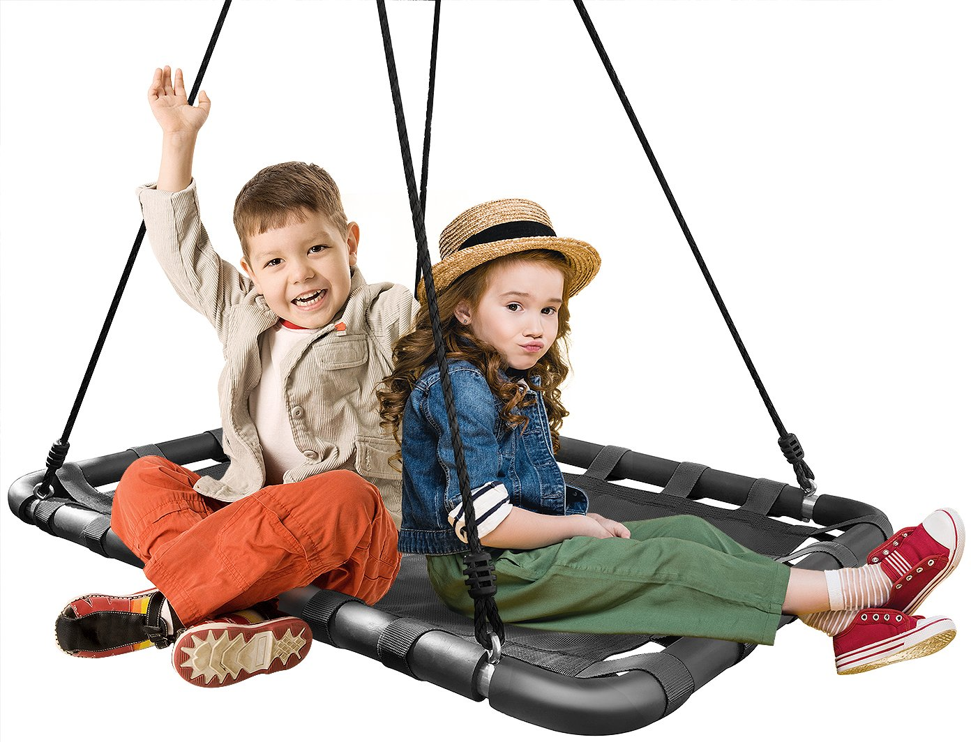 Sorbus Spinner Platform Swing - Kids Indoor/Outdoor Rectangular Mat Swing - Great for Tree, Swing Set, Backyard, Playground, Playroom - Accessories Included (40 x 30, Square Black)
