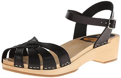 fe6bac0d75 Swedish Hasbeens Women's Cross Strap Debutant Open Toe Sandals, Black, 6.5  UK (40