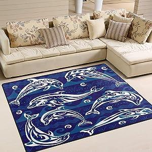 ALAZA Set of Decorated Dolphin Indoor Modern Area Rug 4' x 5', Dining Room Home Bedroom Carpet Floor Mat Nursery Rug Room Mat