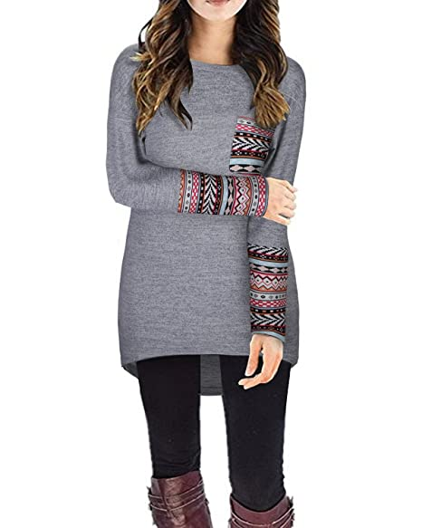 STYLEWORD Women's Long Sleeve Round Neck Patchwork Casual Loose T-Shirts  Blouse Tops(Gray