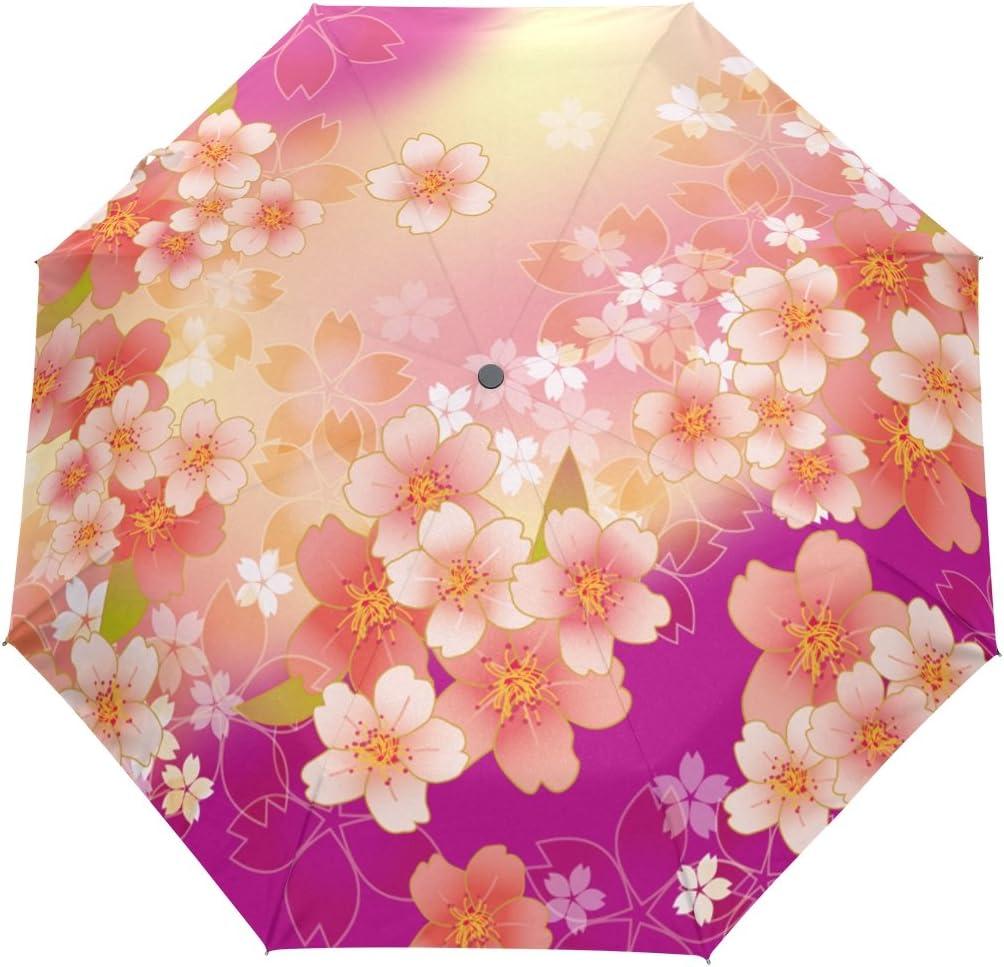 50 Anti-UV Sun Rain Protection Windproof Flower Parasols 3 Folding Umbrella New