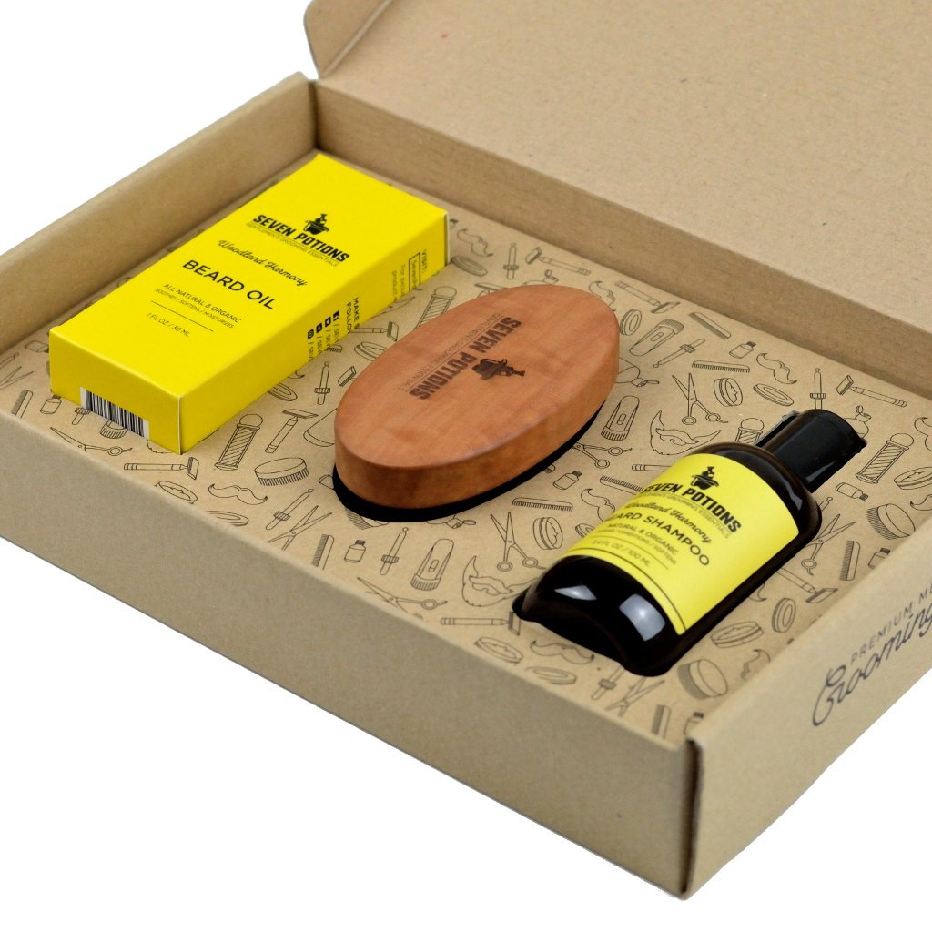 Seven Potions Beard Grooming Set Woodland Harmony. Beard Oil, Beard Shampoo and Beard Brush Make For the Ultimate Beard Care Kit and Great As A Beard Gift Set by Seven Potions