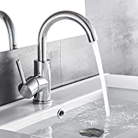 Auralum Chrome waterkraan 360° draaibare badkamer kraan wastafel mengkraan wastafelarmatuur eenhandsmengkraan badkraan…