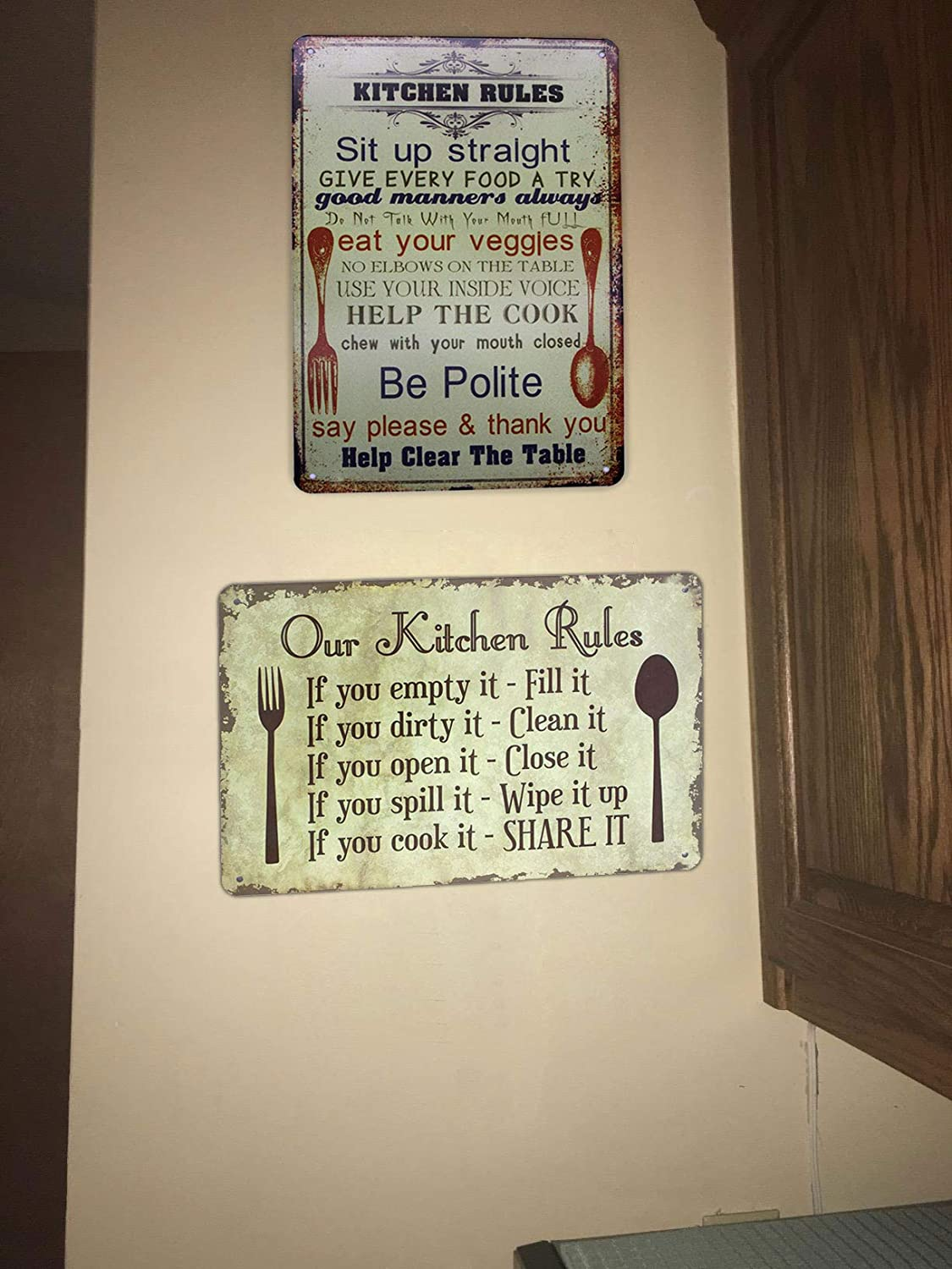 Vintage Plaque Poster Home Kitchen Dining Room Wall Decor UOOPAI Kitchen Rules Metal Tin Sign