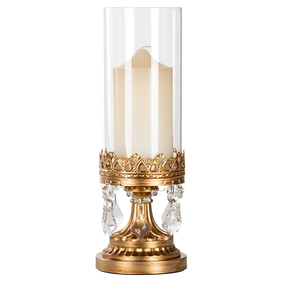 Amalfi Décor Antique Gold Metal Candle Holder with Glass Hurricane Vase, Crystal Draped Pillar Stand Accent Display