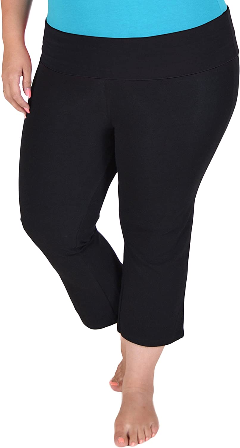 Amazon Com Stretch Is Comfort Women S Plus Size Capri Yoga Pants Clothing