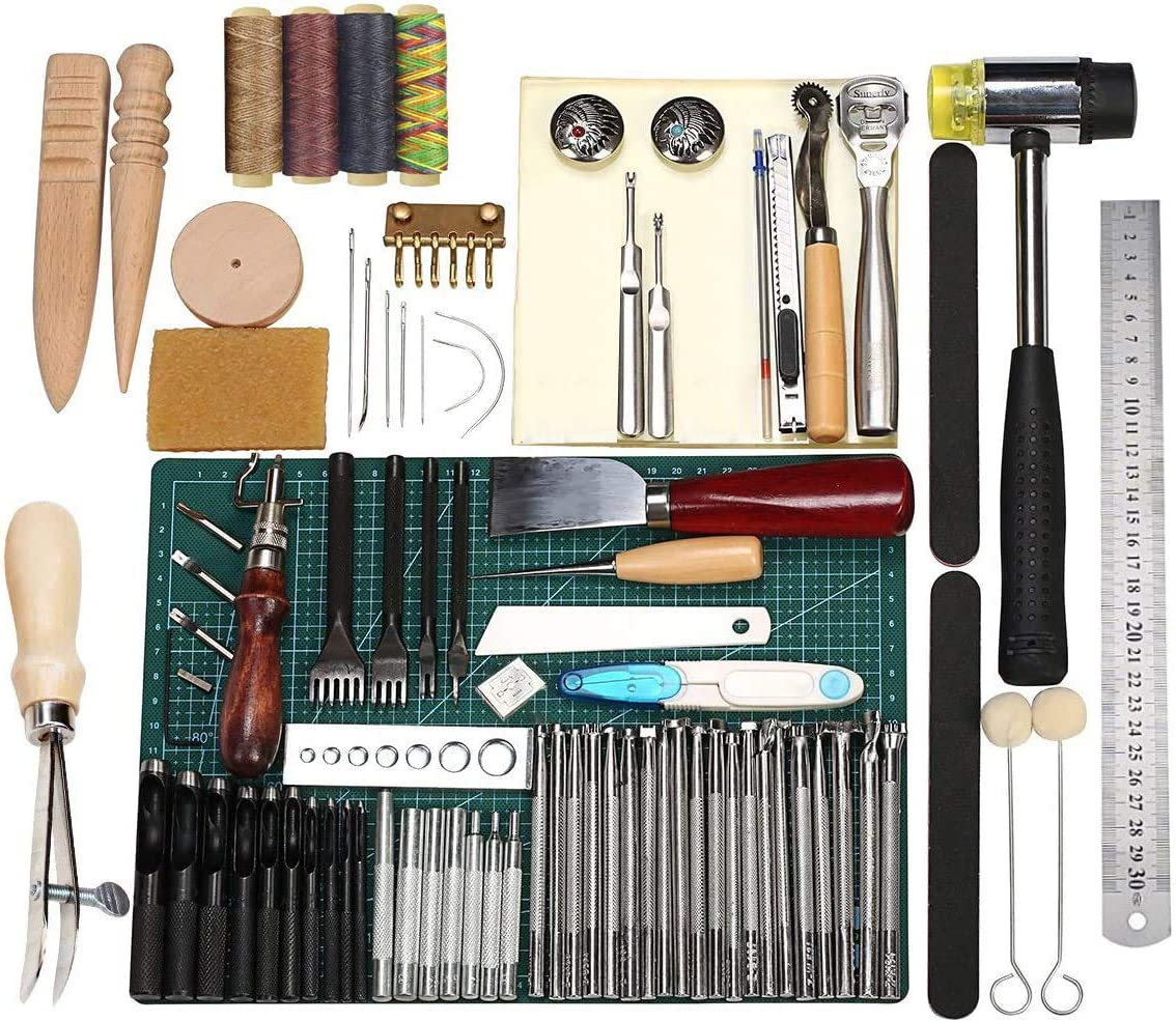 59PCS Leather Craft Working Tools Kit Hand Sewing Supplies Stitching Groover CA