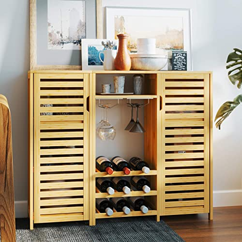 Bamboo Wine Cabinet 2-Piece Bar Cabinet
