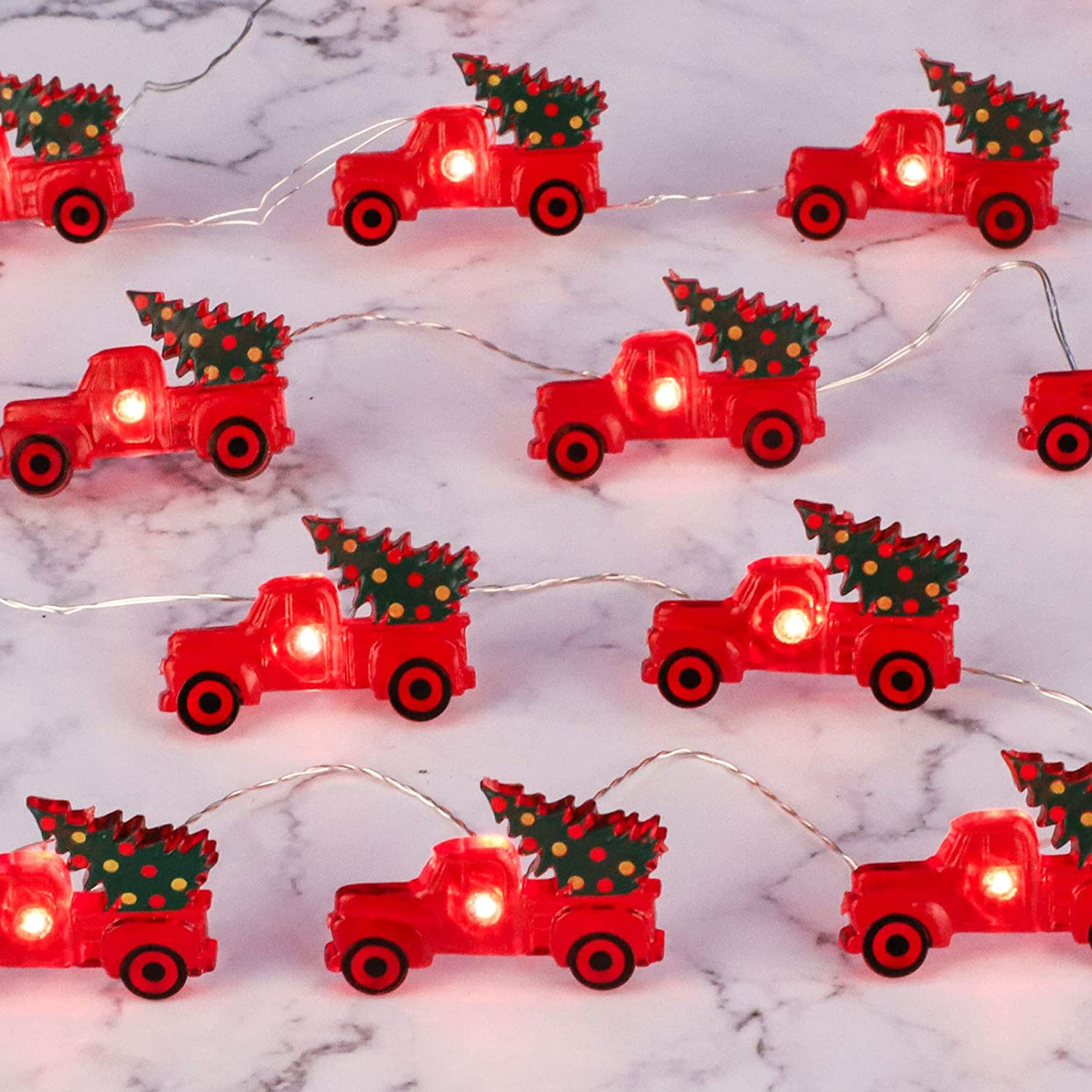 Impress Life Christmas Tree Farmhouse Truck String Lights Decoration, 10ft 30 LEDs, Battery USB Plug-in Powered with Remote Control, Indoor Fairy Lights for Party Xmas Tree Decor