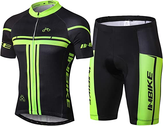Abbigliamento da Ciclismo Estivo per Uomo a Manica Corta Maglia da Ciclismo con Pantaloncini a Pettorina In Gel 5D Pantaloni per MTB,Sportivo Completo allAria Aperta Tuta da Jogging