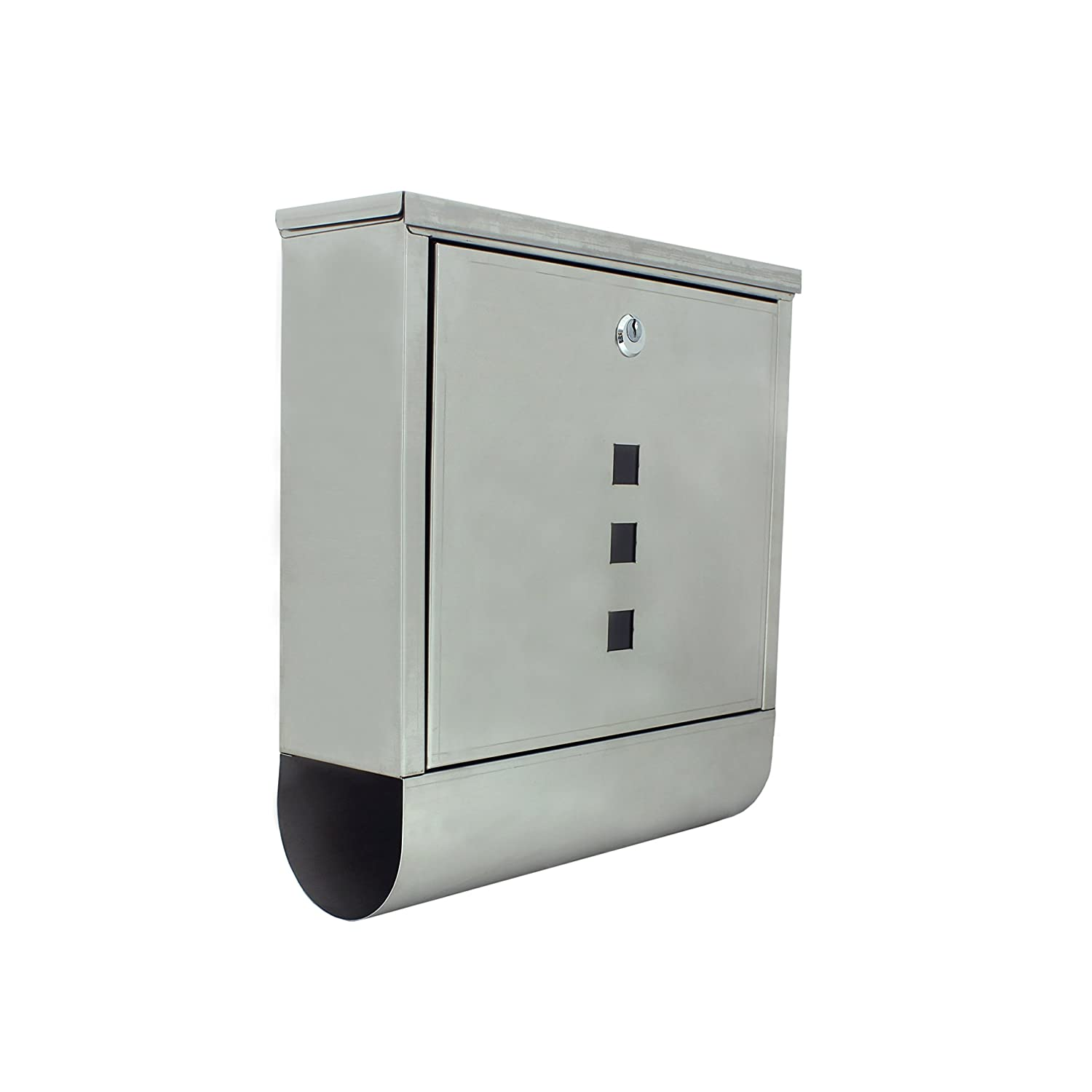 Mailbox stainless steel locking mail box letterbox postal box modern - Aleko Usmb 03 Wall Mounted Mail Box With Retrieval Door 2 Keys And Newspaper Compartment