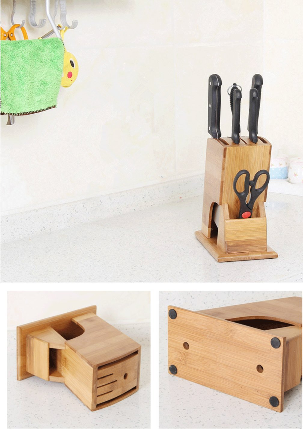 Weikai Bamboo Knife Blocks, Knife Holder Storage Organizer for Chef Knife, Bread Knife, Carving Knife, Utility Knife, Paring Knife, Steak Knife, and Scissors (without knives)