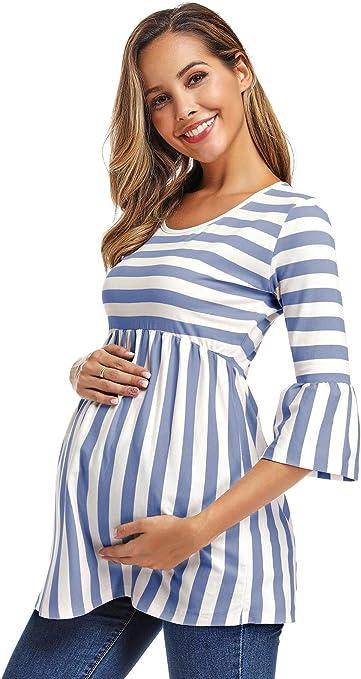 Love2Mi Womens Maternity Tops 3//4 Bell-Sleeve Flare Tunic Tops Soft Pregnancy Babydoll Shirt