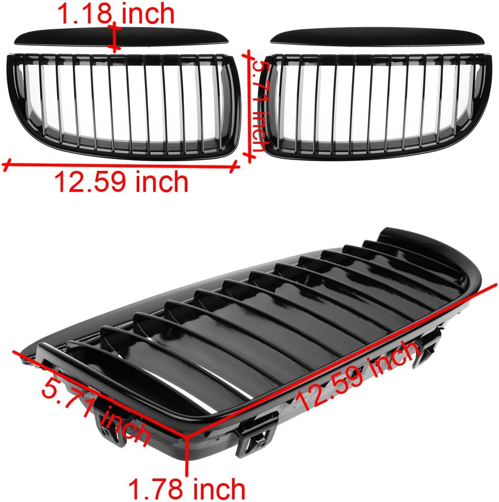 Glossy Black Euro Front Hood Kidney Grille For E90 323i 325xi 330i 328i 328xi 335i 335xi Pre-Facelift Pair