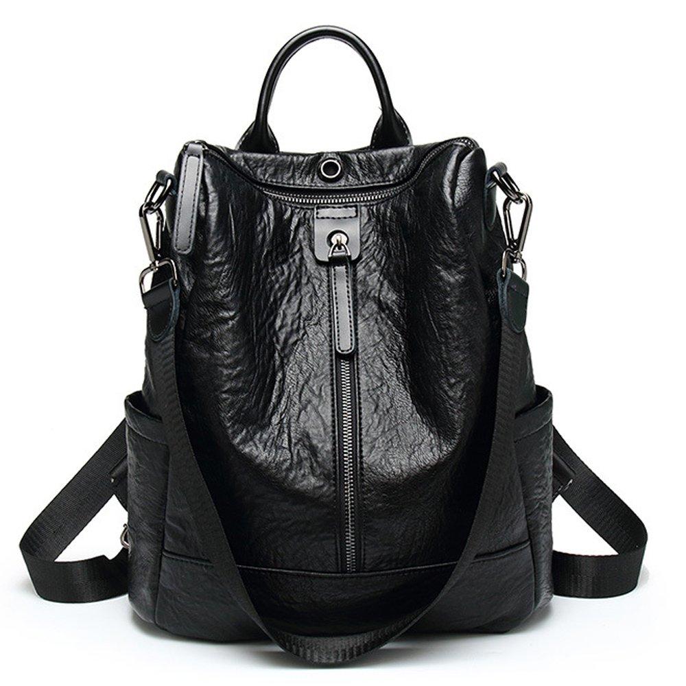 ZUNIYAMAMA Casual Purse Fashion School Leather Backpack Crossbady Shoulder Bag Mini Backpack for Women & Teenage Girls black waterproof